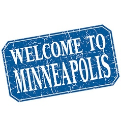 Welcome to minneapolis blue square grunge stamp vector