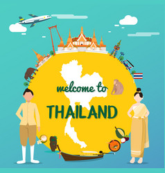welcome to thailand with traditional landmarks map vector image