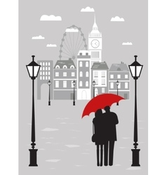 Man and woman with umbrella in london vector
