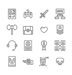 Outline gamer icons vector