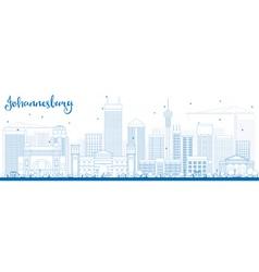 Outline Johannesburg Skyline with Blue Buildings vector image