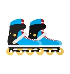 Black and blue roller skate boots isolated on vector