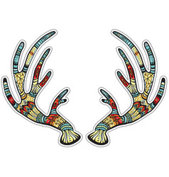 deer antlers with native ornament vector image