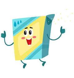 Funny washing powder laundry detergent character vector