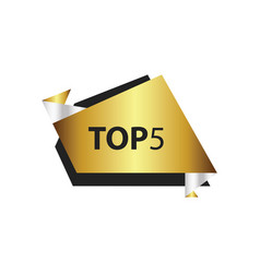 Top5 text in label gold silver vector