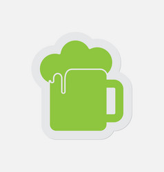 Simple green icon - beer with foam vector