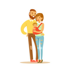 family couple mother carrying their baby in a red vector image