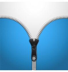 Metalic zip on blue knitted cloth vector
