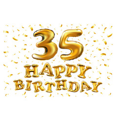 35th birthday celebration with gold balloons and vector