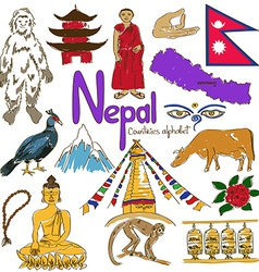 Collection of nepal icons vector