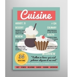 Magazine cover template food blogging layer vector