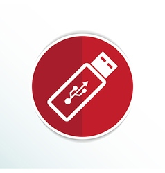 Usb flash drive icon on a grey flat button vector