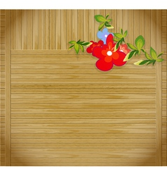 Flowers on wooden background with p vector