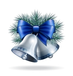 Silver bells with blue ribbon vector