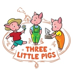 Little piglets from fairy tale vector image