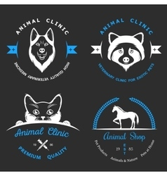 Set of vintage logos for vet clinic vector