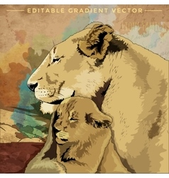Wild Cats Lions Family vector image