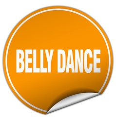 Belly dance round orange sticker isolated on white vector
