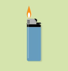 Blue gas lighter with fire vector