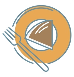 Cake on plate icon vector