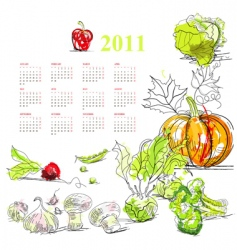 calendar for 2011 with vegetable vector image