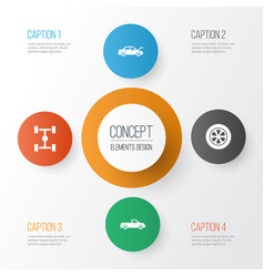 Car icons set collection of wheelbase fixing vector