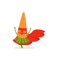 cartoon character of superhero carrot have fun vector image vector image