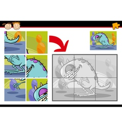 cartoon monster jigsaw puzzle game vector image vector image