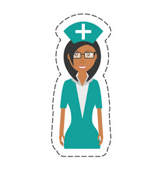 cartoon nurse female with glasses uniform hat vector image