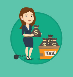 chained woman with bags full of taxes vector image