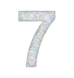 Colorful sketch font design - number 7 vector
