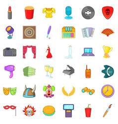 Concert icons set cartoon style vector
