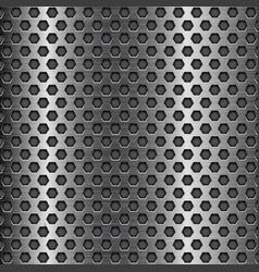 Dark metal perforated background hexagon shape vector