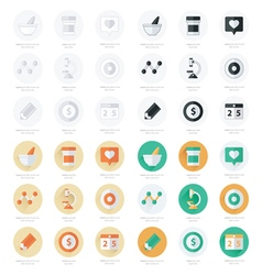 Flat icons set of medical tools and health care se vector