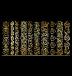 golden vertical borders collection floral gold vector image vector image