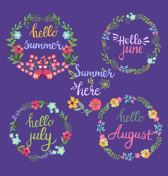 Hand drawn summer flowers wreaths with text hello vector