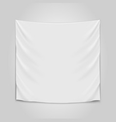 hanging empty white cloth blank flag concept vector image