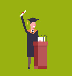 Happy student in graduation cap and gown standing vector