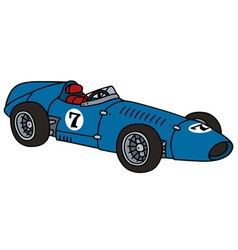 Old blue racing car vector image vector image