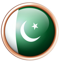 Pakistan flag in round frame vector