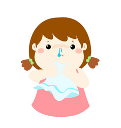 sick girl runny nose cartoon vector image vector image