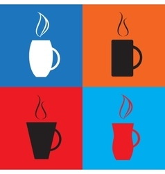 Simple coffee cup icons vector