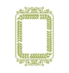 Square border frame with green leaves vector