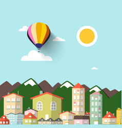 Town with mountains on background flat design vector
