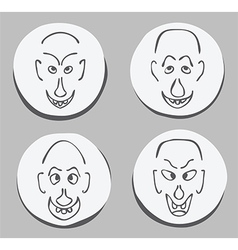 ugly face set vector image vector image