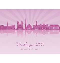 Washington dc v2 skyline in purple radiant orchid vector