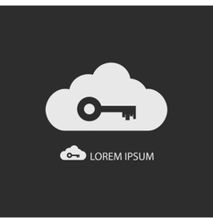 White cloud with key on dark grey vector