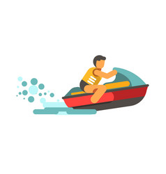 Young male person in life vest driving water vector