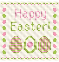 Happy easter embroidery cross-stitch greeting card vector