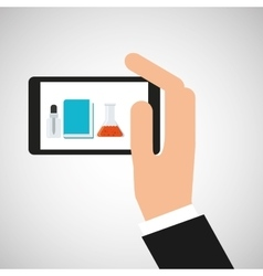 Hand hold smartphone equipment laboratory vector